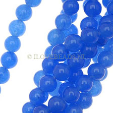 JADE GEMSTONES BEADS - ROYAL BLUEROUND JADE BEADS 6MM